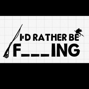 I'd Rather Be Fishing, BLACK sticker/decal